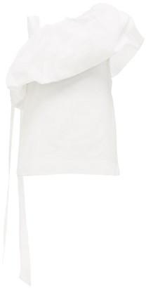 Valentino Asymmetric Cotton-blend Faille Top - White
