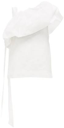 Valentino Asymmetric Cotton-blend Faille Top - Womens - White