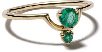 WWAKE 14kt gold Nestled emeralds ring