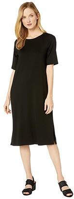 Eileen Fisher Fine Tencel Jersey Round Neck Short Sleeve Dress with Side Slits (Black) Women's Clothing