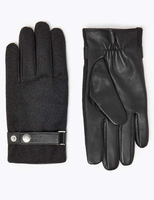Marks and Spencer Leather & Fabric Gloves with Thermowarmth