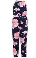 Quiz Curve Navy And Pink Floral Print High Neck Jumpsuit