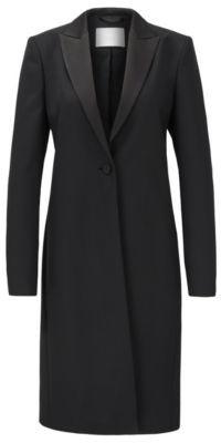 BOSS Tuxedo-style coat in Italian virgin-wool twill