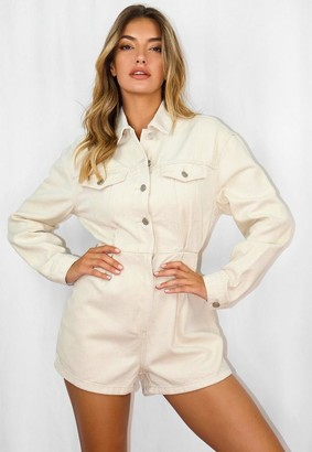 Missguided Cream Cinched Waist Denim Romper