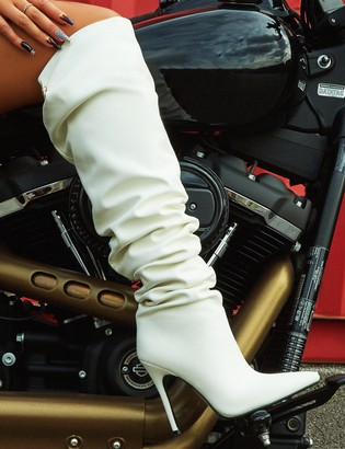 Public Desire Impulse PU Slouch Stiletto Heeled Over the Knee Boots