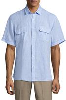 Toscano Dobby Spread Collar Linen Sportshirt