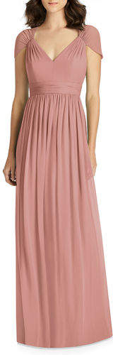 Jenny Packham V-Neck Cap-Sleeve Lux Chiffon Column Bridesmaid Gown w/ Cutout Back