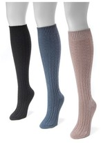 Muk Luks Women's 3 Pair Pack Cable Knee High Socks - Multicolor One Size