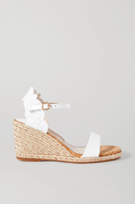 Sophia Webster Cassia Embroidered Leather Wedge Espadrilles - White