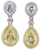 18K Tri Color Gold 11ct Fancy Yellow Diamond Pear Shape Drop Earrings