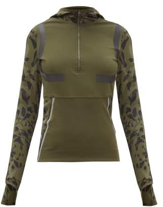 adidas by Stella McCartney Hooded Half Zip Running Jacket - Womens - Khaki