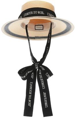Gucci Ribbon-tie straw-effect hat