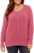 ST. JOHN'S BAY St. John's Bay Long Sleeve Crew Neck Pullover Sweater-Plus