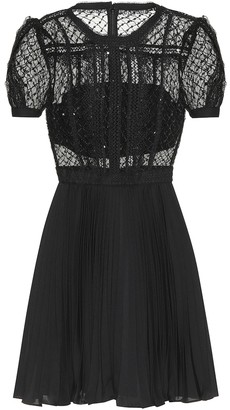 Self-Portrait Embellished lace minidress