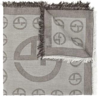 Giorgio Armani Monogram Raw-Edge Scarf