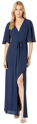 BCBGMAXAZRIA Cape Detail Gown with Slit (Dark Navy) Women's Dress