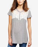Daniel Rainn Maternity Lace-Trim Henley Shirt