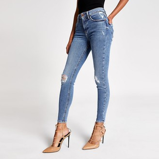 River Island Blue ripped Amelie super skinny jeans
