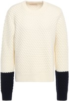 Tory Burch Two-tone Waffle-knit Wool Sweater