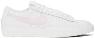 Nike White and Pink Leather Blazer Low Sneakers