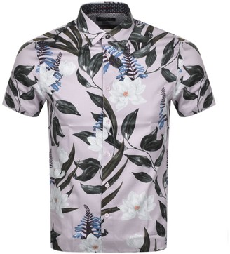 Ted Baker Dudum Print Short Sleeved Shirt Lilac