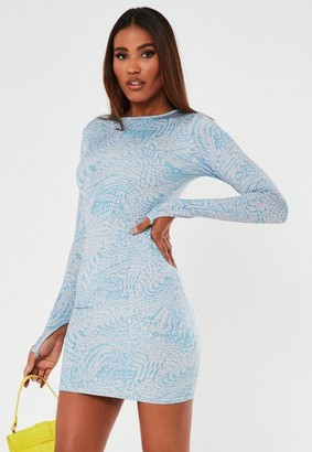 Missguided Blue Croc Effect Slinky Mini Dress