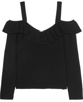 Iris and Ink Evie Cold-Shoulder Ribbed-Knit Top