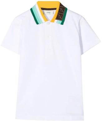 Fendi Kid's Logo Collar Polo Shirt