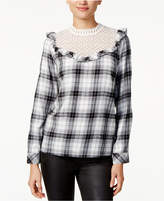 Kensie Lace-Trim Plaid Top