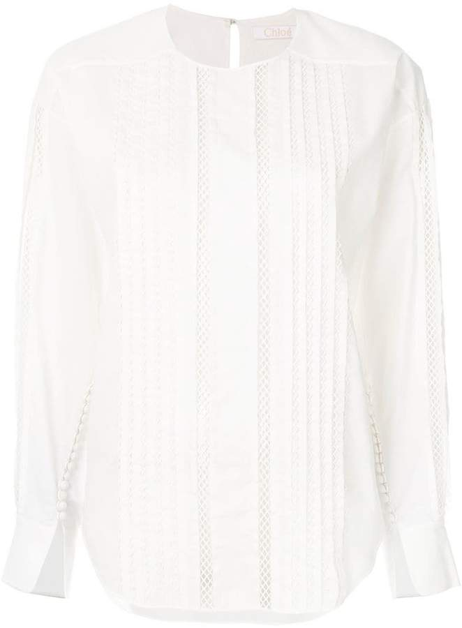 Chloé mesh insert long sleeve blouse