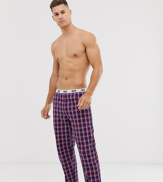 Asos Design DESIGN lounge pyjama bottom in navy and red check with branded waistband
