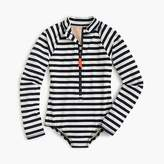 J.Crew Girls' long-sleeve one-piece swimsuit in sailor stripes