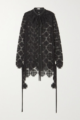 Loewe Ruffled Cotton-blend Lace Blouse - Black