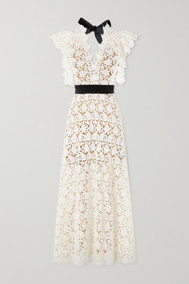 ARTCLUB Portia Velvet-trimmed Cotton-lace And Silk-organza Midi Dress - Ecru