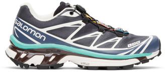 Salomon Grey and Blue XT-6 Advanced Sneakers