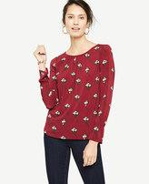 Ann Taylor Petite Floral Shirred Ruffle Cuff Top