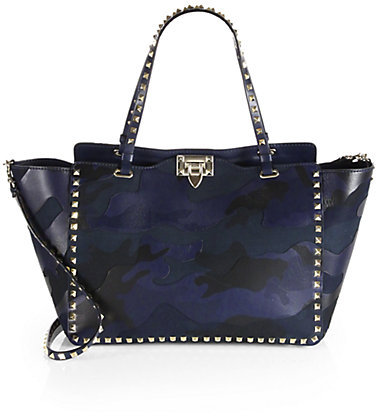 Valentino Camouflage Rockstud Leather & Canvas Tote