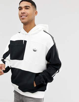 adidas hoodie with asymetric colour blocking in white