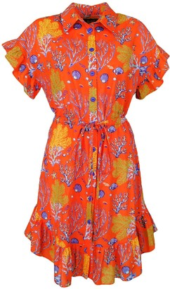 Lalipop Design Cotton Shirt Dress With Coral Prints