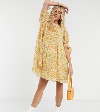 ASOS DESIGN Maternity pleated trapeze mini dress with tie sleeves in ditsy floral print