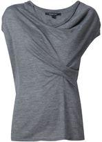 Derek Lam Cap Sleeve Asymmetrical Drape Sweater