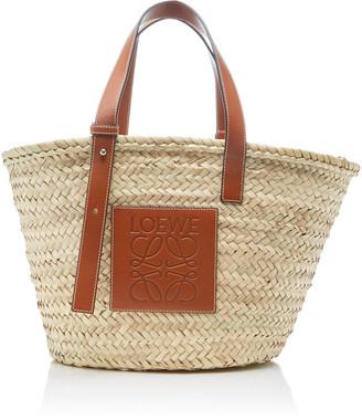 Loewe Leather-Trimmed Woven Raffia Medium Basket Bag