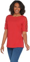 Factory Quacker Lace Sleeve Knit T-shirt with Faux Pearl Detail
