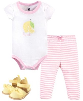 Hudson Baby Girl Sleeveless Bodysuit, Pant & Shoe Outfit Set, 3pc