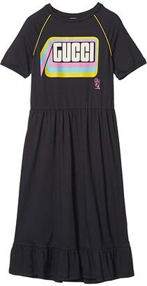 Gucci Kids Cotton Jersey w/ Gucci Print Dress (Little Kids/Big Kids) (Vintage Dark Grey/Multicolor) Girl's Clothing