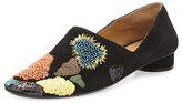 The Row Boelle Embroidered Suede Flat, Black