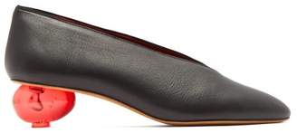 Gray Matters - Egg Plexi-heel Leather Pumps - Womens - Black Red