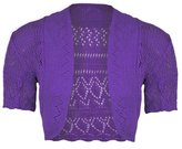 Janisramone Ladies Bolero Shrug Knitted Crochet Cardigan Womens Top Size 8-24