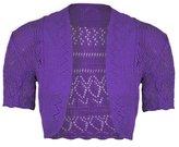 JanisRamone New Womens Ladies Crochet Knitted Bolero Shrug Short Cap Sleeve Crop CardiganTop