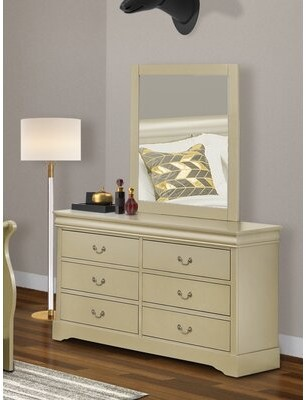Charlton Home Farnung Wooden 6 Drawer Double Dresser with Mirror Color: Metallic Gold